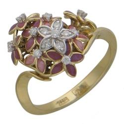 Женское кольцо Цветок из комбинированного золота c эмалью, бриллиантом