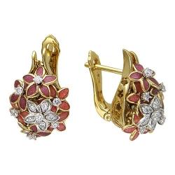 Серьги в виде цветов из комбинированного золота c эмалью, бриллиантом