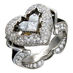 Женское кольцо Сердце из комбинированного золота c эмалью, бриллиантом