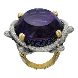 Женское кольцо из комбинированного золота c аметистом