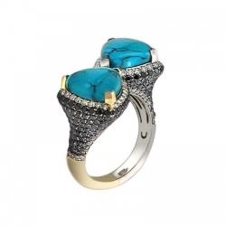Женское кольцо из комбинированного золота c бирюзой, бриллиантом