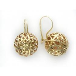Серьги Ажур из желтого золота без камней