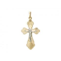 Мужской крестик из комбинированного золота без камней