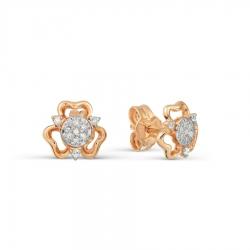 Золотые серьги гвоздики Цветы с бриллиантами