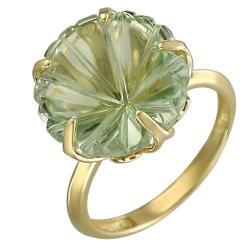 Кольцо из желтого золота с празиолитом (18 р-р)