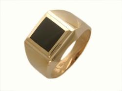 Мужское кольцо из золота с черным агатом