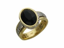 Кольцо из комбинированного золота с агатом и бриллиантом