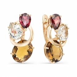 Серьги из красного золота с цветными камнями