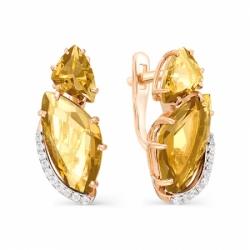 Серьги из красного золота с цитрином