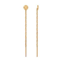 Золотые серьги продёвки без камней SOKOLOV