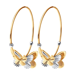 Серьги конго Бабочки из золота без камней SOKOLOV