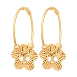 Золотые серьги конго «Цветы» без камней SOKOLOV