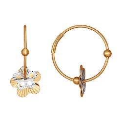 Серьги конго из золота «Цветы» без камней SOKOLOV