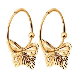 Золотые серьги конго Бабочки без камней SOKOLOV