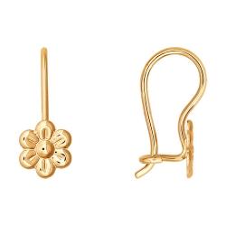 Детские золотые серьги «Цветы» без камней SOKOLOV