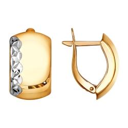 Золотые серьги с алмазными гранями SOKOLOV