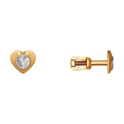Золотые серьги гвоздики Сердца без камней SOKOLOV