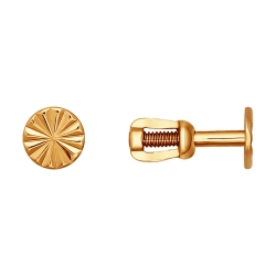 Золотые серьги гвоздики без камней SOKOLOV