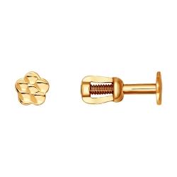 Золотые серьги гвоздики «Цветы» без камней SOKOLOV