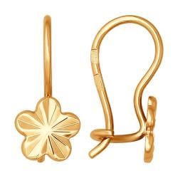 Детские золотые серьги цветочки SOKOLOV