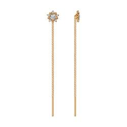 Золотые серьги продёвки «Цветы» c фианитами SOKOLOV
