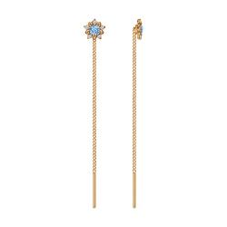 Золотые серьги продёвки «Цветы» c голубыми фианитами SOKOLOV