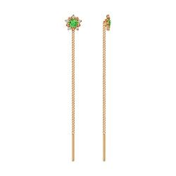 Золотые серьги продёвки «Цветы» c зелёными фианитами SOKOLOV