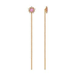 Золотые серьги продёвки «Цветы» c розовыми фианитами SOKOLOV