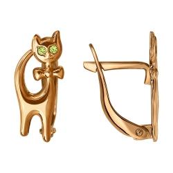 Детские серьги котята c зелёными фианитами SOKOLOV