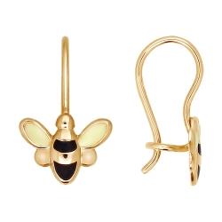 Детские золотые серьги «Пчёлка» с эмалью SOKOLOV