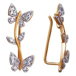 Золотые серьги продёвки Бабочки c фианитами SOKOLOV