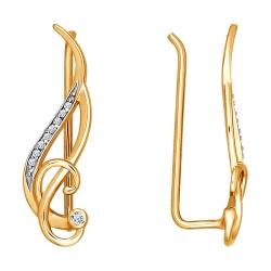 Золотые серьги продёвки c фианитами SOKOLOV