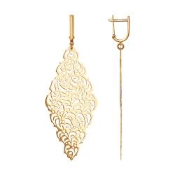 Длинные ажурные серьги из золота без камней SOKOLOV