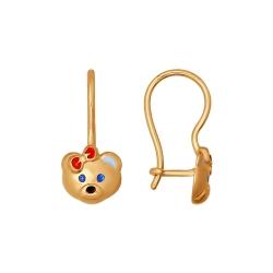 Золотые детские серьги «Мишка» с эмалью SOKOLOV
