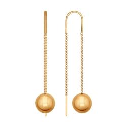 Золотые серьги цепочки без камней SOKOLOV