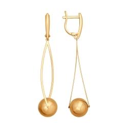 Золотые серьги висюльки без камней SOKOLOV