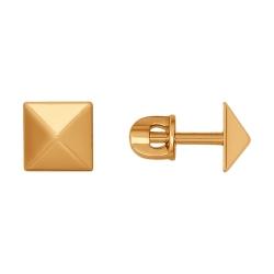 Золотые серьги гвоздики Геометрия без камней SOKOLOV