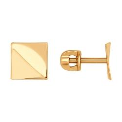 Золотые серьги-гвоздики Квадрат без камней SOKOLOV