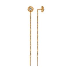 Золотые серьги цепочки (Фианит) SOKOLOV