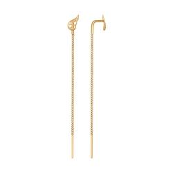 Золотые серьги цепочки с крылом без камней SOKOLOV