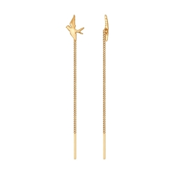 Золотые серьги-продевки с птицами  без камней SOKOLOV