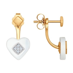 Золотые серьги с подвеской в форме сердца (Фианит, Керамика) SOKOLOV