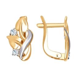 Золотые серьги Листья (Фианит) SOKOLOV