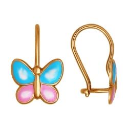 Золотые серьги с бабочками(Эмаль) SOKOLOV