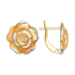Детские золотые серьги Цветы без камней SOKOLOV