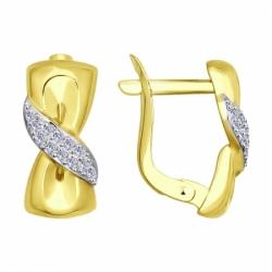 Серьги из желтого золота с фианитами