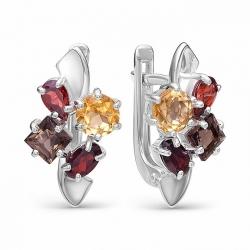 Серебряные серьги c цветными камнями