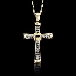 Золотой крестик без камней с алмазной гранью