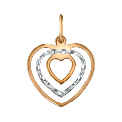Золотая подвеска в виде сердца без камней SOKOLOV