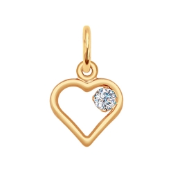 Золотая подвеска «Сердце» с фианитами SOKOLOV